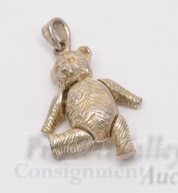 8.1 Gram Sterling Silver Articulated Teddy Bear Pendant