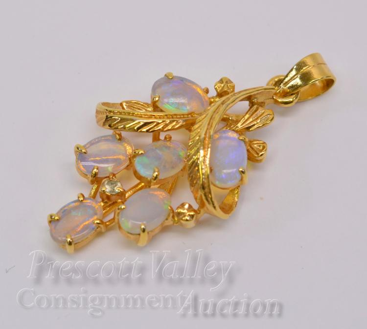 Lot 9: 2.4 Gram 10K Yellow Gold and Opal Grape Cluster Pendant