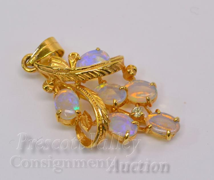 2.4 Gram 10K Yellow Gold and Opal Grape Cluster Pendant