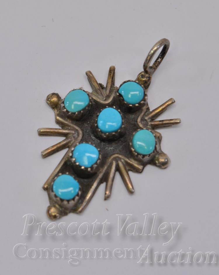 Lot 10: Sterling Silver and Turquoise Cross Pendant