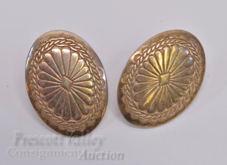 Lot 11: Sterling Silver Concho Post Earrings