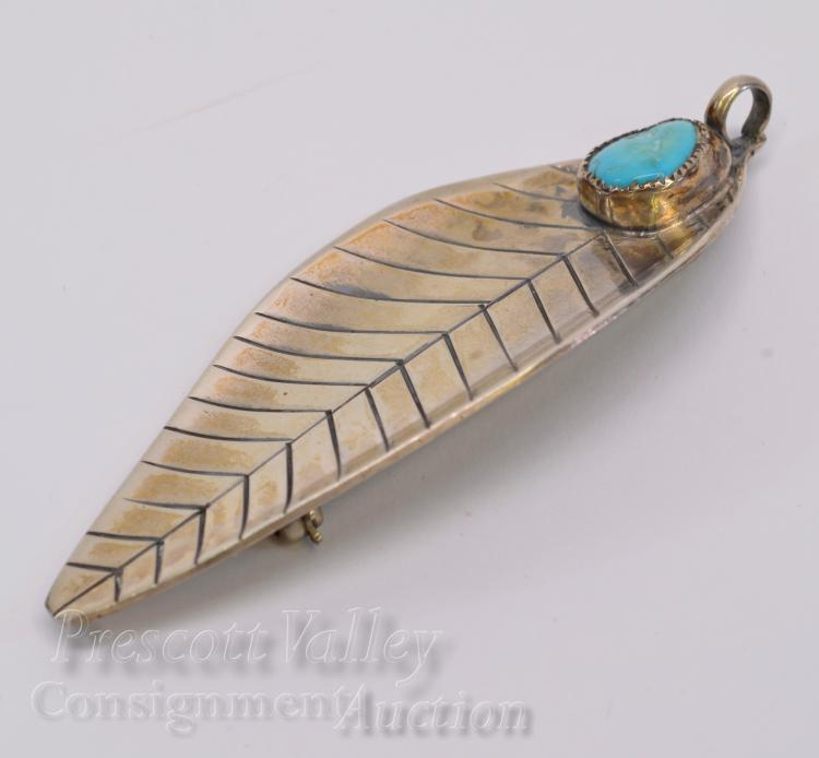 Lot 12: 13.1 Gram Sterling Silver and Turquoise Leaf Pendant Pin Brooch