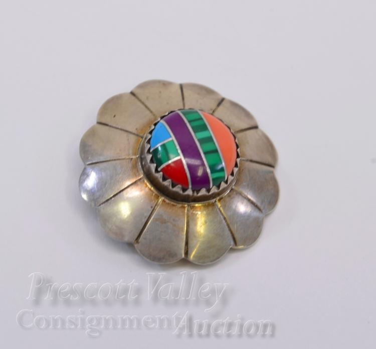 Lot 15: Sterling Silver Inlaid Sugilite Turquoise Malachite Coral and Spiny Oyster Concho Pendant