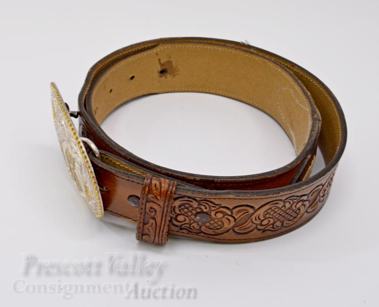 Lot 21: El Arturo Bonze Crumrine S Western Belt Buckle on Beaded and Tooled Wright Leather Belt Sz 38