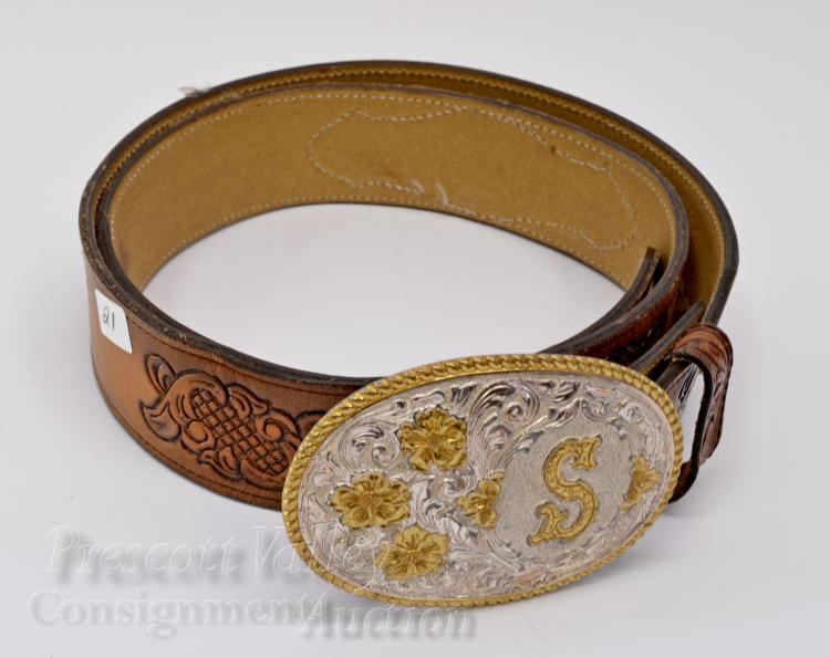 El Arturo Bonze Crumrine S Western Belt Buckle on Beaded and Tooled Wright Leather Belt Sz 38