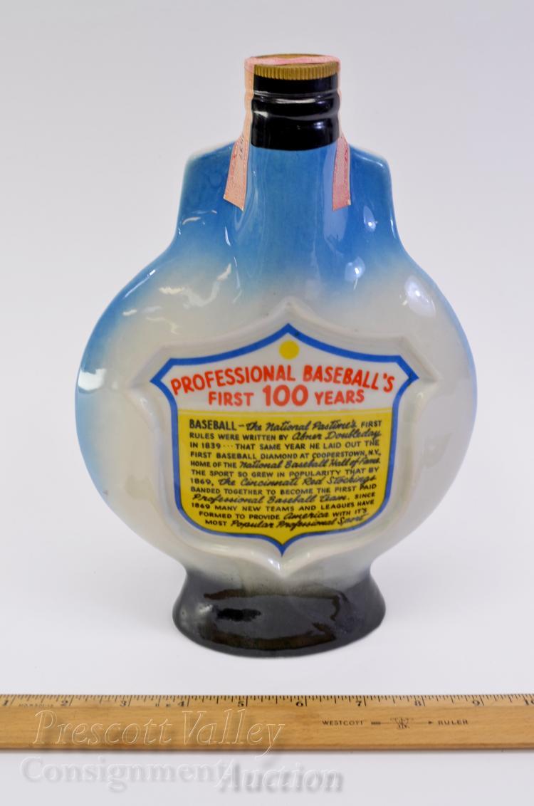 Lot 22: Sealed 1969 Baseball 100th Anniversary Sealed Jim Beam 100 Month Old Bourbon Whiskey Bottle