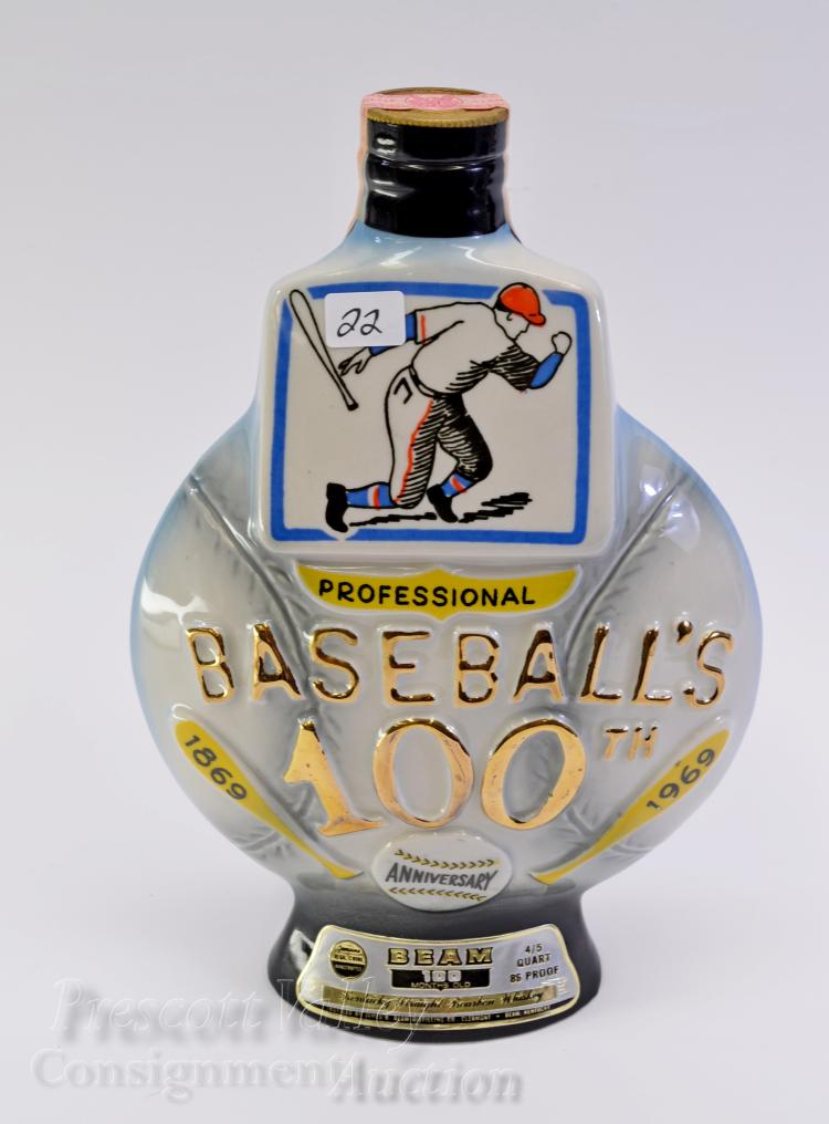 Sealed 1969 Baseball 100th Anniversary Sealed Jim Beam 100 Month Old Bourbon Whiskey Bottle