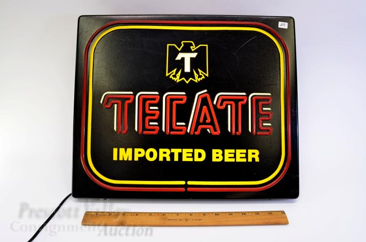 Lot 23: Vintage Tecate Imported Beer Lighted Bar Advertising Sign