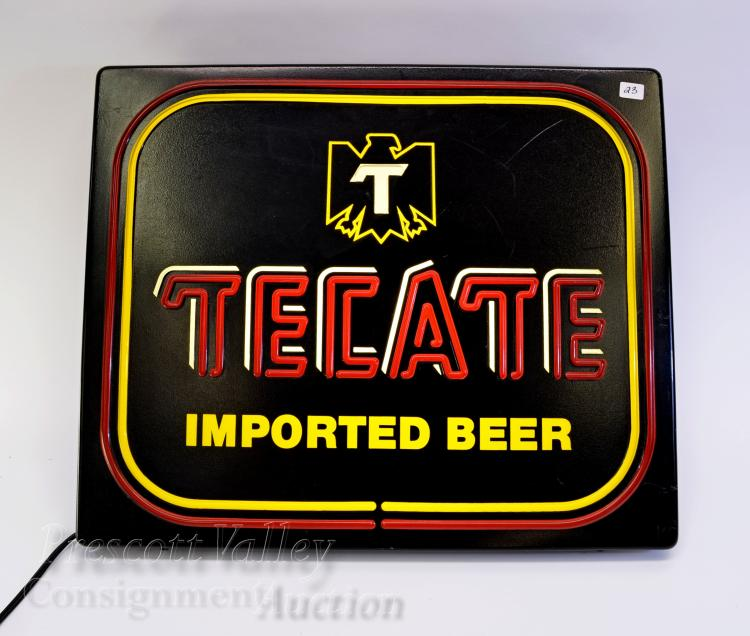 Vintage Tecate Imported Beer Lighted Bar Advertising Sign