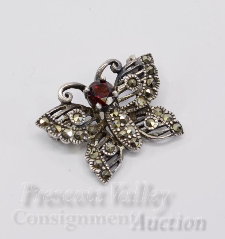 Vintage Sterling Silver Garnet and Marcasite Butterfly Pin Brooch