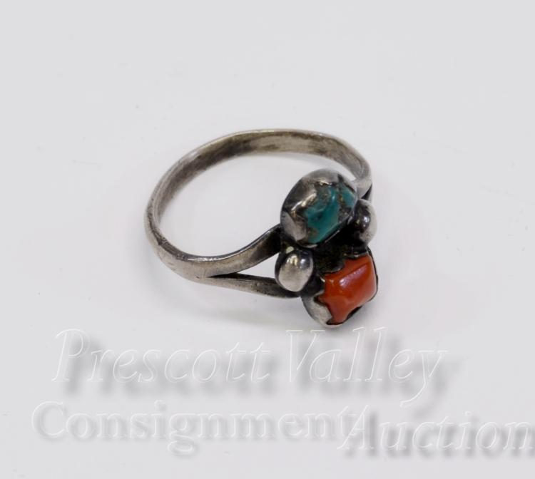 Navajo Sterling Silver Turquoise and Coral Ring Sz 7