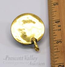 Lot 30: 15.3 Gram Gold Washed Sterling Silver Inlaid Chip Coral and Malachite Pendant