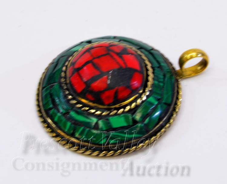 15.3 Gram Gold Washed Sterling Silver Inlaid Chip Coral and Malachite Pendant