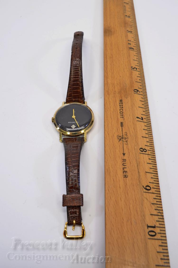 Lot 31: Vintage Clinton Swiss Made 17 Jewel Manual Wind Diamond Face Wrist Watch