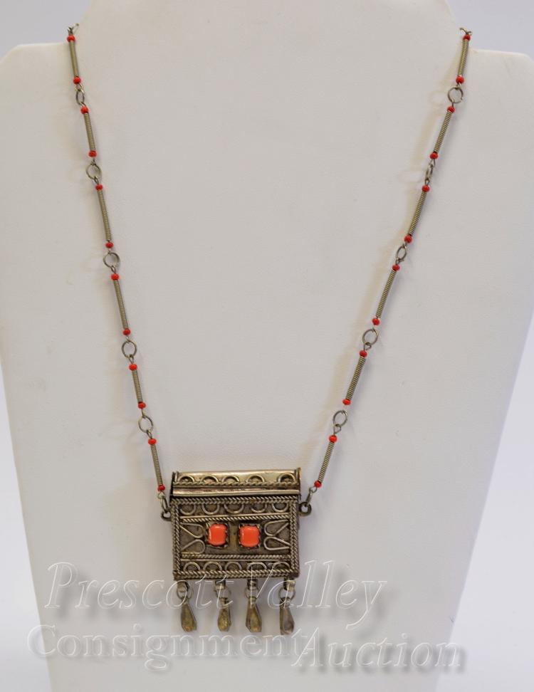 "Lot 32: Vintage Moroccan Nickel Silver and Coral Sliding Lid Pill Container 20.75"" Necklace"