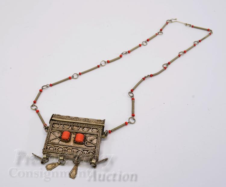"Vintage Moroccan Nickel Silver and Coral Sliding Lid Pill Container 20.75"" Necklace"