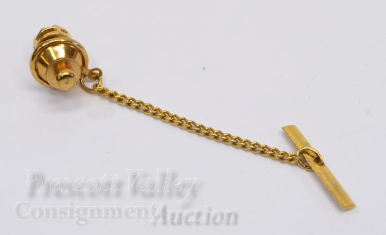 Lot 34: 14K Yellow Gold and Sapphire Tie Tack Pin