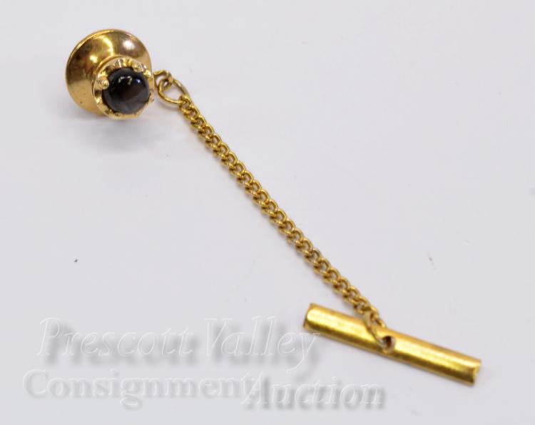 14K Yellow Gold and Sapphire Tie Tack Pin