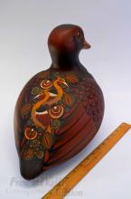 Lot 35: Mexican Hand Painted Clay Duck Signed Elias Regin P.