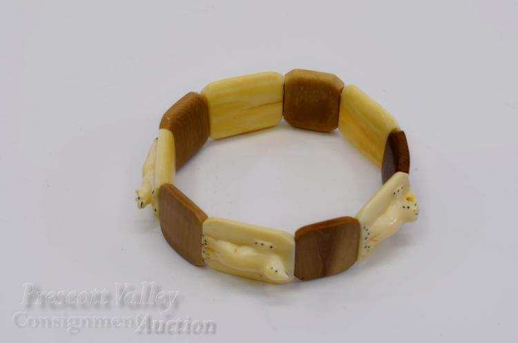 Carved Walrus Tusk and Fossilized Mammoth Ivory Animal Fetish Expandable Bracelet