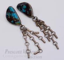 Lot 37: 9.9 Gram Sterling Silver and Turquoise Post Dangling Chain Earrings One w/o Back