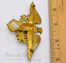 Lot 38: Vintage Gold Tone Federal Eagle Holding Arrows and Olive Branch Pin Brooch