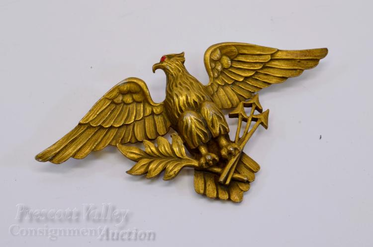 Vintage Gold Tone Federal Eagle Holding Arrows and Olive Branch Pin Brooch