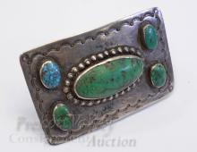 Lot 40: 66 Gram Vintage Hand Stamped Sterling Silver and Turquoise Belt Buckle Signed WS Cortes