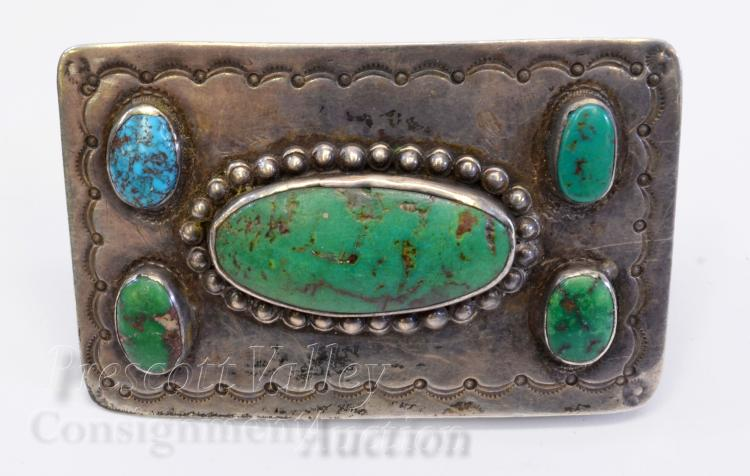66 Gram Vintage Hand Stamped Sterling Silver and Turquoise Belt Buckle Signed WS Cortes