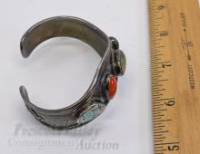 Lot 41: 31.7 Gram Sterling Silver Turquoise Coral and Malachite Cuff Bracelet Signed JW