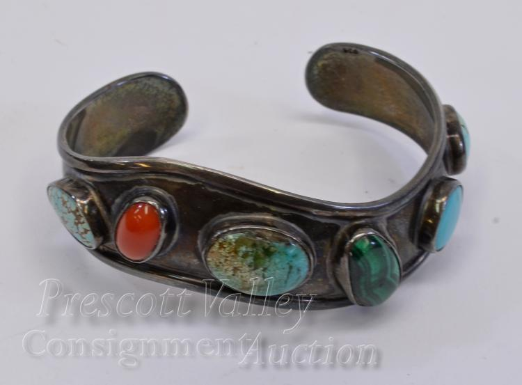 31.7 Gram Sterling Silver Turquoise Coral and Malachite Cuff Bracelet Signed JW