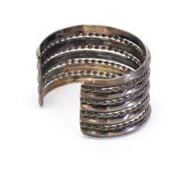 Lot 43: 72.3 Gram Navajo Hand Stamped Sterling Silver and Rope Braid Cuff Bracelet