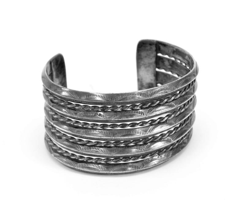 72.3 Gram Navajo Hand Stamped Sterling Silver and Rope Braid Cuff Bracelet