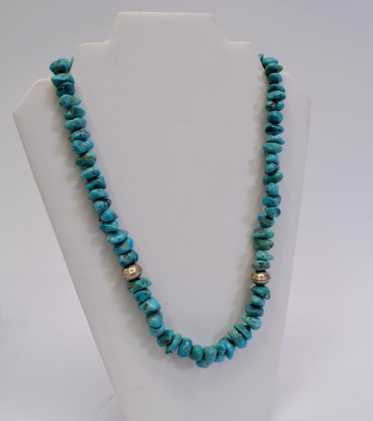 "Lot 44: Hand Formed Sterling Silver and Polished Turquoise Nugget Bead 23.75"" Necklace"