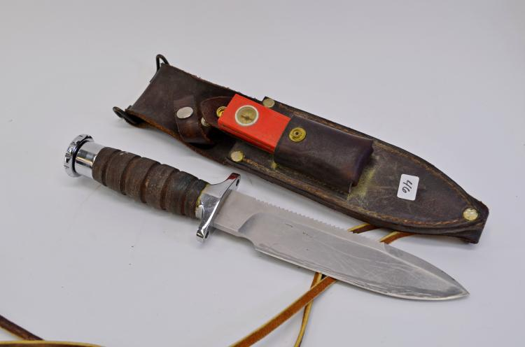 Lot 46: Vintage Garcia Hackman Finland Stainless Steel Fixed Blade Survival Knife and Leather Sheath