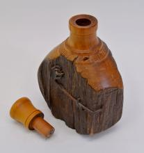 Lot 47: Oscars Haus Hand Crafted Totara Fence Post Polished Wood Bottle New Zealand 1920
