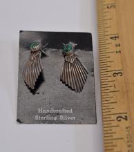 Lot 50: Sterling Silver and Malachite Post Fan Earrings