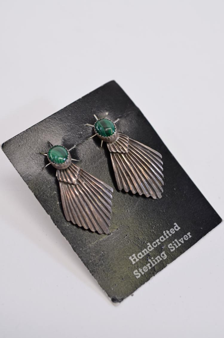 Sterling Silver and Malachite Post Fan Earrings
