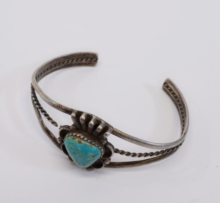 Lot 51: 12 Gram Navajo Sterling Silver and Turquoise Cuff Bracelet