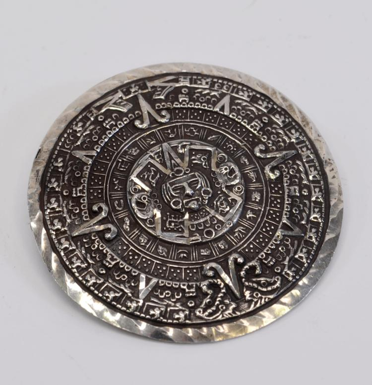 11.5 Gram Vintage Mexican Sterling Silver Mayan Calendar Pin Brooch Pendant