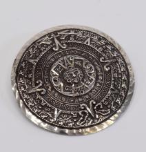 Lot 53: 11.5 Gram Vintage Mexican Sterling Silver Mayan Calendar Pin Brooch Pendant