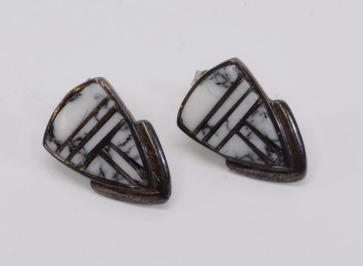 Navajo Sterling Silver and White Buffalo Turquoise Post Earrings Signed with Rising Sun Symbol