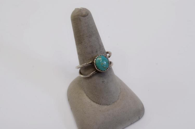 Lot 55: 7.6 Gram Lot of 2 Vintage Sterling Silver Turquoise Ring and Taxco Abalone Ring Signed ANA Sz 9 to 13