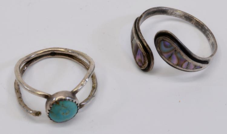 7.6 Gram Lot of 2 Vintage Sterling Silver Turquoise Ring and Taxco Abalone Ring Signed ANA Sz 9 to 13