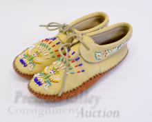 Lot 61: Native American Indian Hand Crafted Stitched and Beaded Leather Moccasins