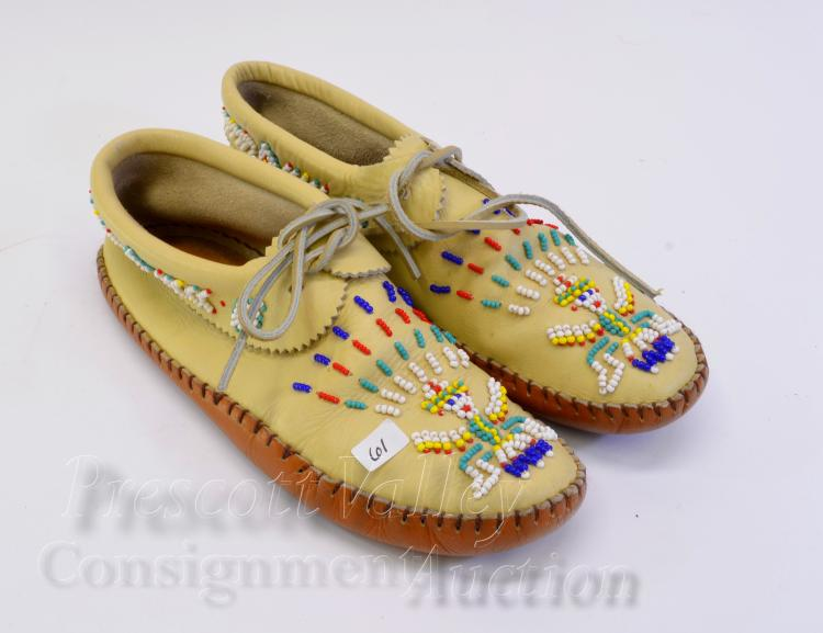 Native American Indian Hand Crafted Stitched and Beaded Leather Moccasins
