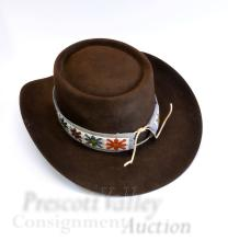 Lot 62: Stetson Revenger 3X Cowboy Hat with Beaded Band Sz 6 7/8 in Box