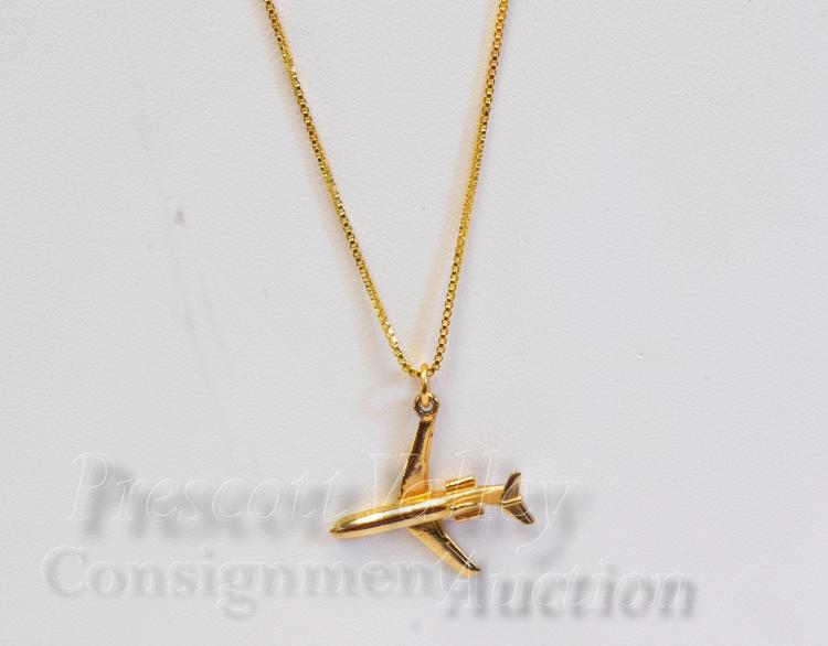 """Lot 63: Gold Over Sterling Silver Boeing 727 Charm Pendant on 20"""" Box Chain Necklace"""