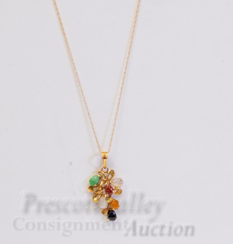 Lot 64: 2.6 Gram 14K Yellow Gold Multi Stone Pendant on 17.75 Fine Chain Necklace