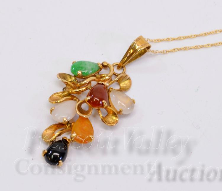 2.6 Gram 14K Yellow Gold Multi Stone Pendant on 17.75 Fine Chain Necklace